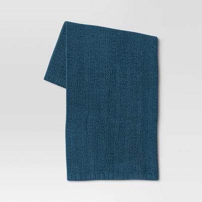 Striped Chenille Knit Throw Blanket Blue - Threshold™