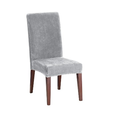 Stretch Plush Dining Room Chair Slipcover Gray - Sure Fit