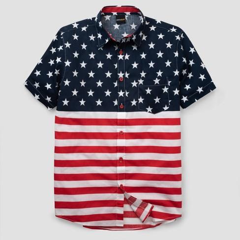 d59a521b7e Men's American Flag Short Sleeve Woven Button-Down Shirt - White