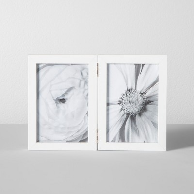 Thin Hinged Frame Holds 2 Photos White 4 x6  - Made By Design™