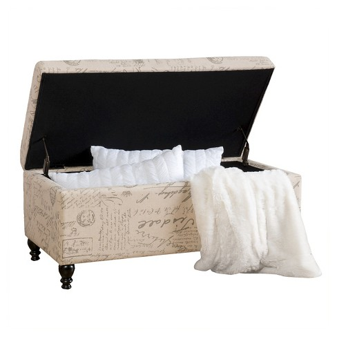 Luke Fabric Storage Ottoman Bench Beige - Christopher Knight Home - image 1 of 4