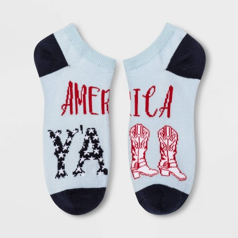 "Women's ""America Y'All"" Low Cut Socks - Blue One Size - image 1 of 1"