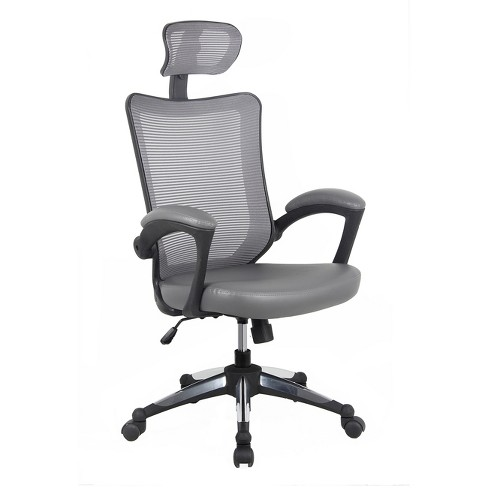 High Back Mesh Executive Office Chair With Headrest Gray