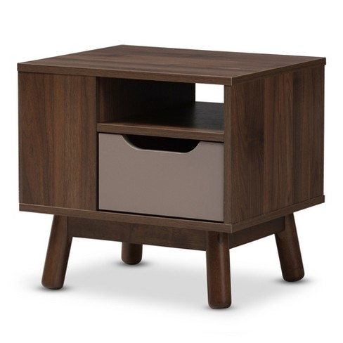 Britta Midcentury Modern Walnut And Two Tone Finished Wood Nightstand Brown/Gray - Baxton Studio - image 1 of 9