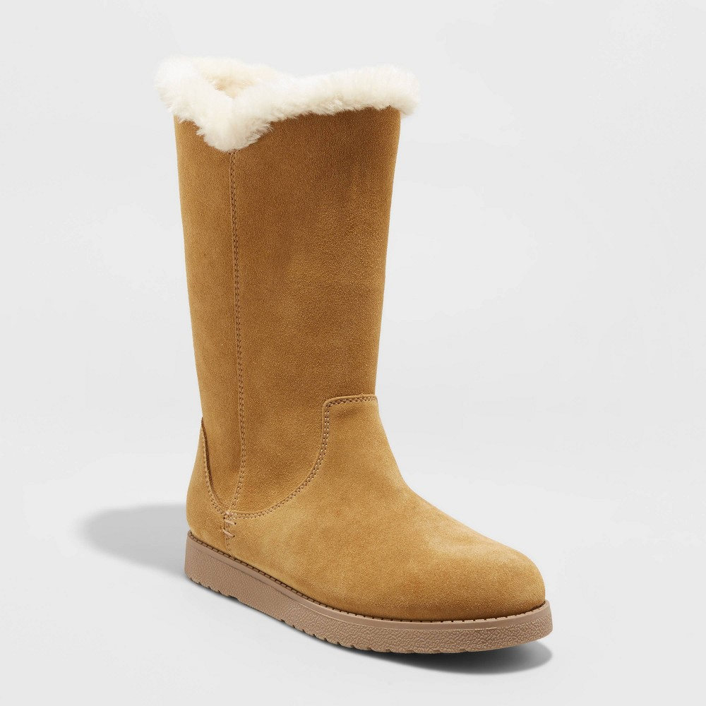 Women 39 S Charleigh Tall Shearling Style Boots Universal Thread 8482 Tan 9