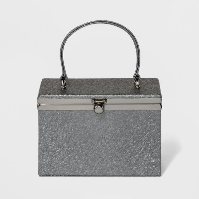 Estee & Lilly Bar Clasp Closure Box with Handle Clutch - Pewter