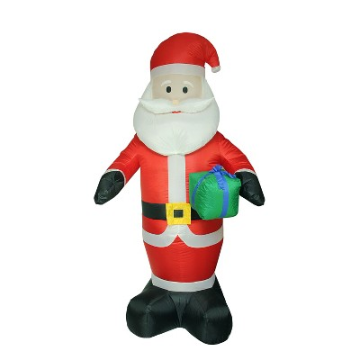 LB International 8' Red Pre-Lit Inflatable Santa Claus with Gift Christmas Outdoor Decor