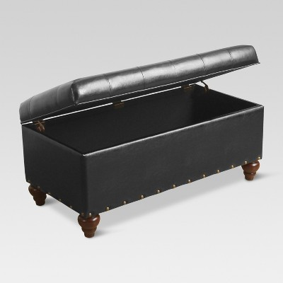 Tufted Ottoman Bench With Shoe Storage And Nailhead Black   Threshold™ :  Target