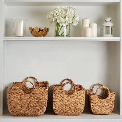 3pc Water Hyacinth Stackable Storage Baskets Natural - Haven Way