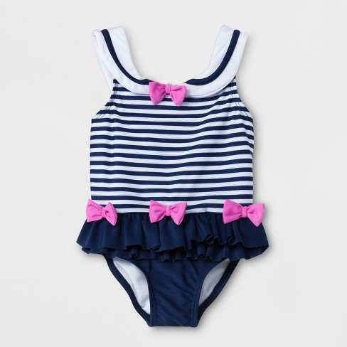 Sol Swim Baby Girls' Striped One Piece Swimsuit with Ruffle & Bows - Navy - image 1 of 2