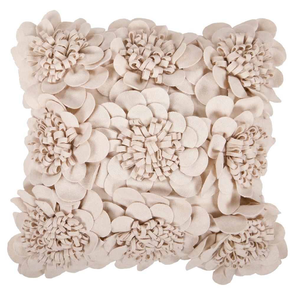 Beige Zante Blossom Throw Pillow 22