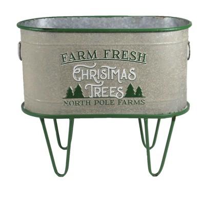 "Christmas 12.75"" Green Oval Farm Fresh Tree Bucket Planter Decorate Decor  -  Planters"