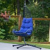 Cushioned Rattan Wicker Hanging Chair with Stand - Blue - Algoma - image 2 of 4