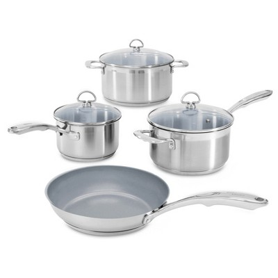 Chantal Induction 21 Steel 7pc Stainless Steel with Ceramic Coating Cookware Set