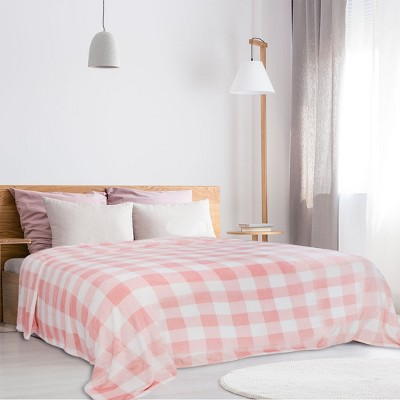 1 Pc King Microfiber Plaid Flannel Fleece Bed Blankets Pink and White  - PiccoCasa