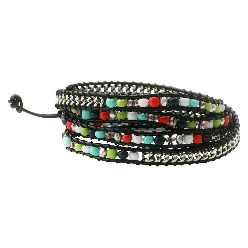 Women's Zirconite Color Beads Leather Wrap Bracelet, Multi-Colored