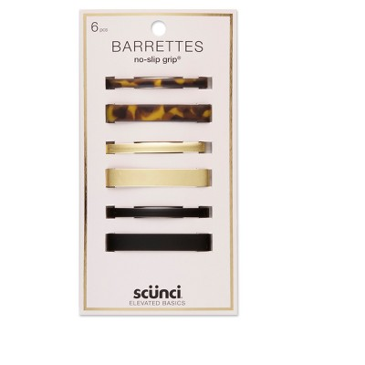 scunci Rectangular Stay Tight Barrettes - 6pk