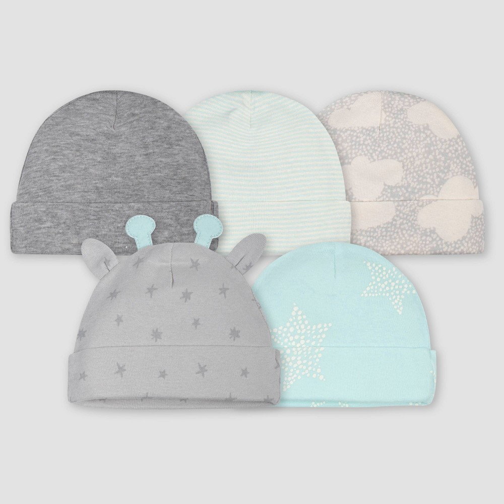 Image of Gerber Baby 5pk Giraffe Caps - Turquoise/Gray 0-6M, Kids Unisex, Size: Small, Blue
