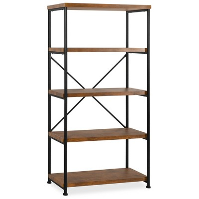 Best Choice Products 5-Tier Rustic Industrial Bookshelf Display Décor Accent w/ Metal Frame, Wood Shelves