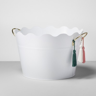 Steel Beverage Tub with Handles/Tassels 6gal White - Opalhouse™