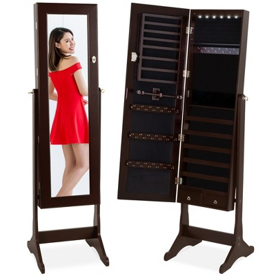 Best Choice Products 6-Tier Standing Mirror Lockable Storage Organizer Cabinet Armoire w/ LED Lights