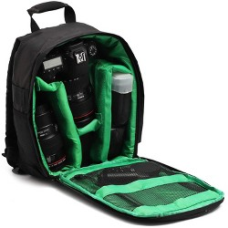Juvale Camera Backpack Bag for Photographer DSLR/SLR Cameras, Lenses, Tripods, Flashes & Accessories, Black/ Green
