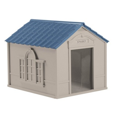 Suncast DH350 Outdoor Deluxe Weatherproof Dog House w/ Door for Large Dog, Gray