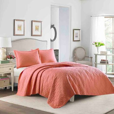 Coral Solid Quilt Set (Full/Queen)- Laura Ashley
