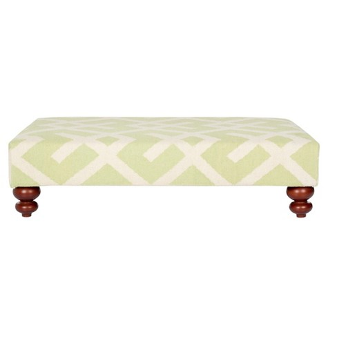 Cross Hatch Dhurrie Ottoman Lime/Ivory - Safavieh® - image 1 of 3