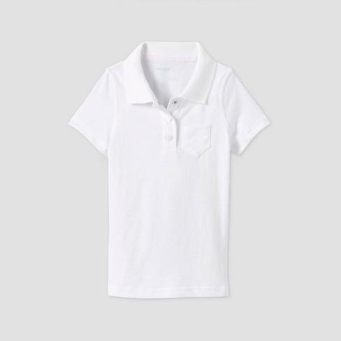 Toddler Girls' Short Sleeve Polo Shirt - Cat & Jack™ White - image 1 of 2