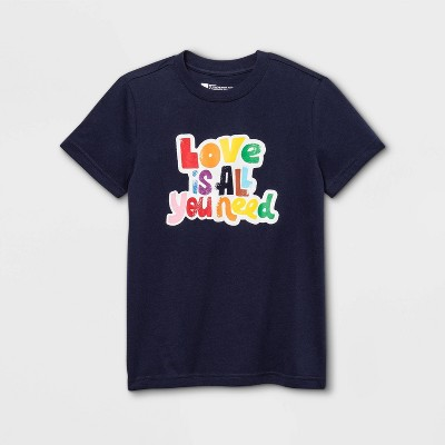 Pride Gender Inclusive Kids' 'Love is All You Need' Short Sleeve Graphic T-Shirt - Navy
