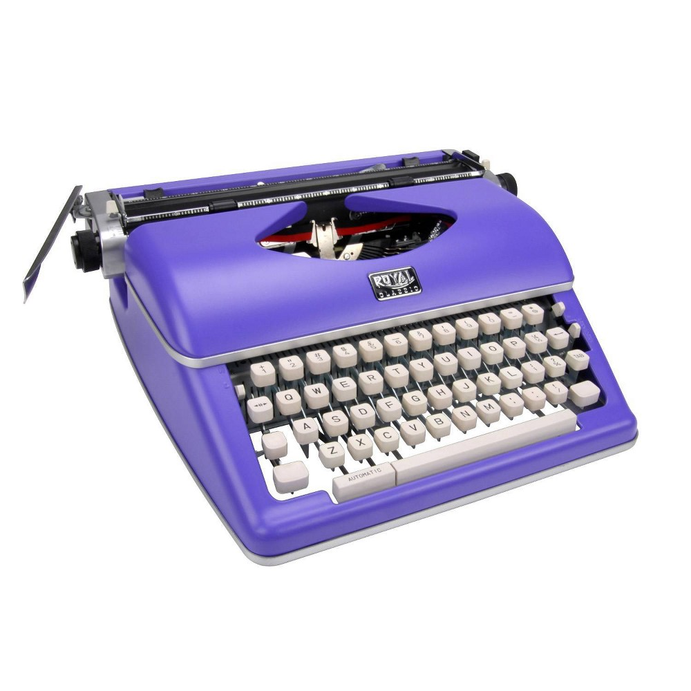 Royal Classic Manual Typewriter - Purple Classic Manual Typewriter. Keyboard has 44 keys/88 symbols Space Bar Repeat Key Variable Line Spacing Back Space and Ribbon Selector. Black/Red ribbon pre-installed. Includes: Typewriter Manual. Continuing with our long history of manufacturing quality typewriters, Royal introduces our new  Classic  manual typewriter in Fun purple color! The Royal Classic features a sturdy metal housing and provides the essential functions to compose a novel, write lyrics or send an old fashioned letter. A computer will never be as beautiful as a vibrant typewriter, so take a step back in time with the Royal Classic!