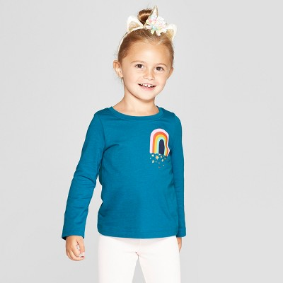 Toddler Girls' Long Sleeve 'Rainbow' Graphic T-Shirt - Cat & Jack™ Blue 12M