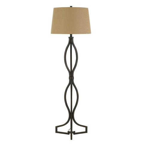 "3 Way Tivoli Iron Floor Lamp With Burlap Shade Rust 5""x3.5"" (Includes Energy Efficient Light Bulb) - Cal Lighting - image 1 of 2"