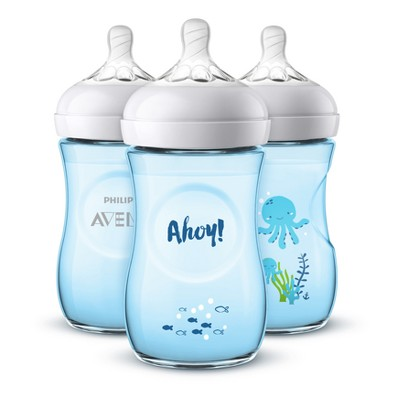 Philips Avent 3pk Natural Baby Bottle 9oz - Deco Blue