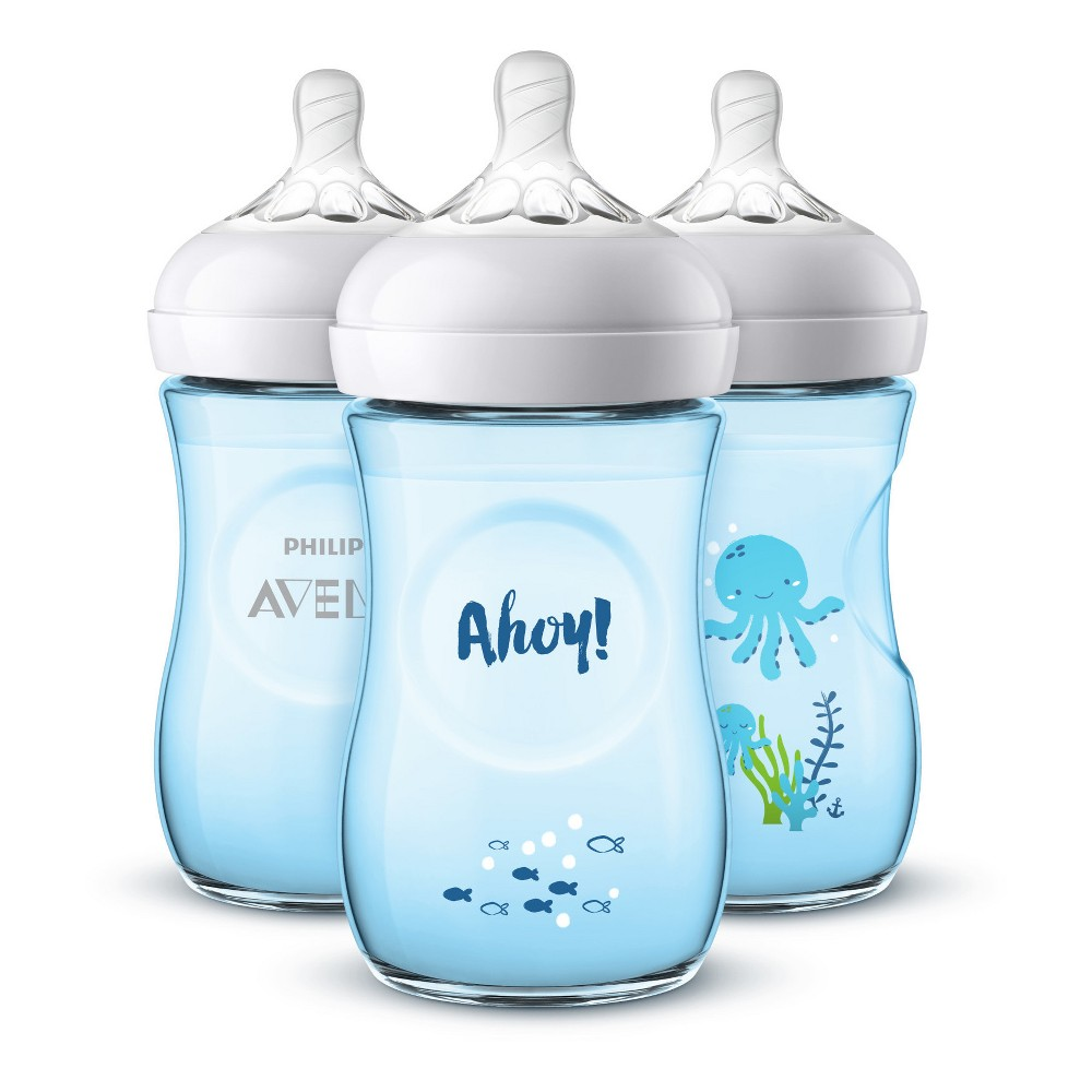 Image of Philips Avent 3pk Natural Baby Bottle 9oz - Deco Blue