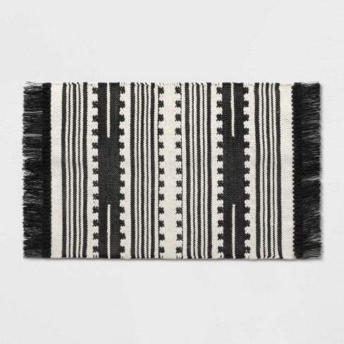 2'X3' Sylviidae Stripe Woven Accent Rug Black - Opalhouse™ - image 1 of 3