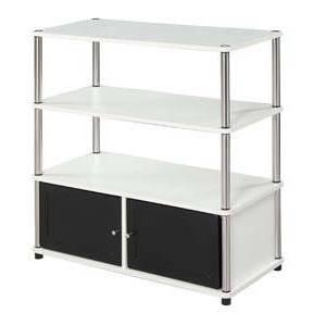 Highboy TV Stand White/Black Doors - Breighton Home