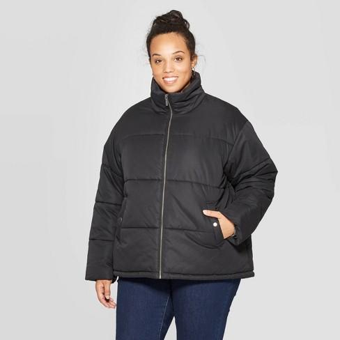 Women's Plus Size Puffer Jacket - Ava & Viv™ Black - image 1 of 2