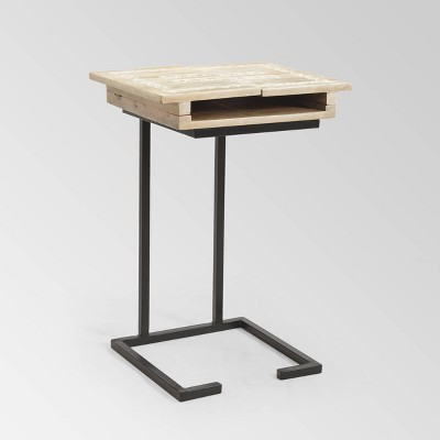 Pauger Industrial C-Shaped Accent Table - Natural - Christopher Knight Home