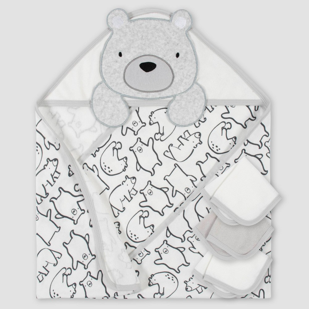 Gerber Baby Boys 39 4pc Bear Bath Towel And Washcloth Set Cream
