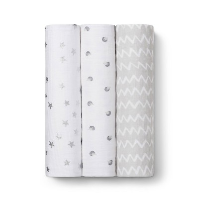 Muslin Swaddle Blankets Hedgehog 3pk - Cloud Island™