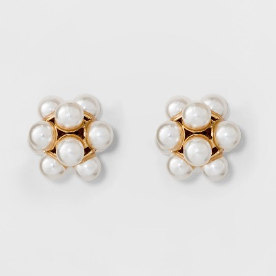 Simulated Pearl Stud Earrings - A New Day™ Gold