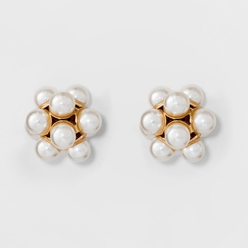 Simulated Pearl Stud Earrings - A New Day™ Gold - image 1 of 2