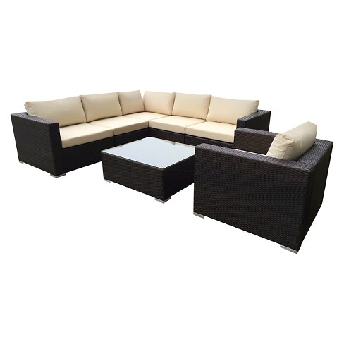 Santa Rosa 7pc Wicker Seating Sectional Set with Cushions - Christopher Knight Home - image 1 of 4