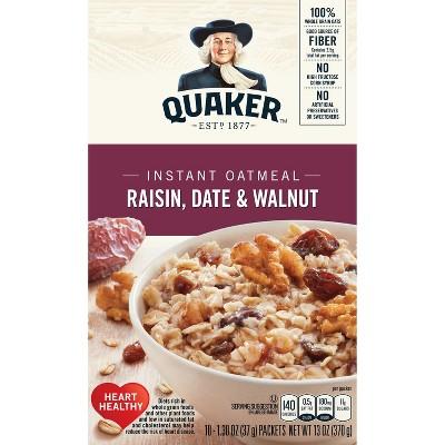 Quaker Raisin, Date & Walnut Instant Oatmeal - 10ct