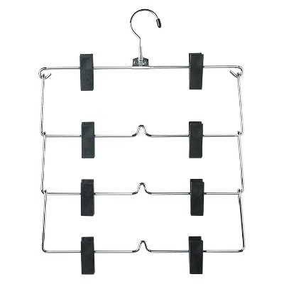 4-Tier Fold Up Skirt Hanger - Chrome/Black (2pk)