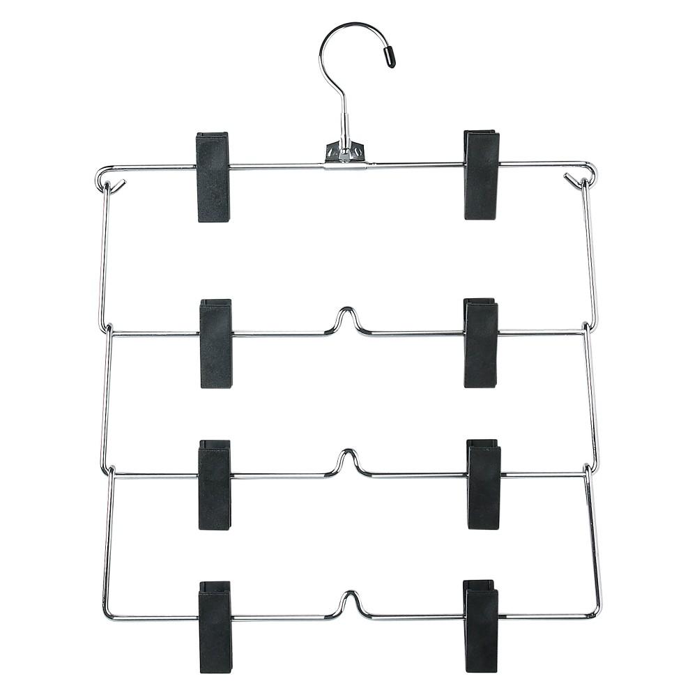 Image of 4-Tier Fold Up Skirt Hanger - Chrome/Black (2pk)