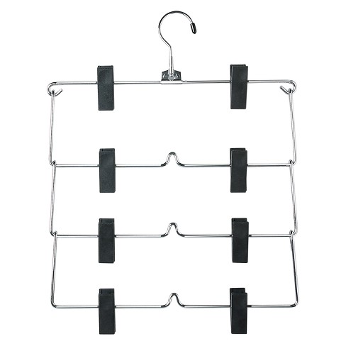 4-Tier Fold Up Skirt Hanger - Chrome/Black (2pk) - image 1 of 1