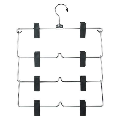 4-Tier Fold Up Skirt Hanger - Chrome/Black (2pk) - image 1 of 1